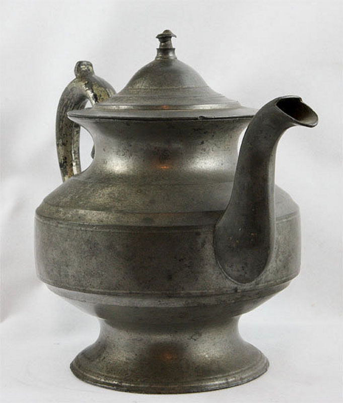 American Pewter Pear Shape Teapot For Sale
