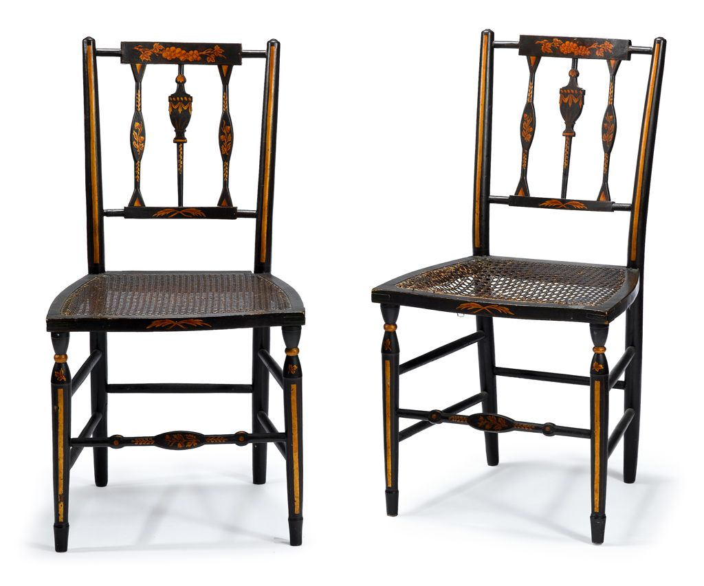 Superb Pair of Early 19th C American Painted Baltimore Cane Seated Side  Chairs Circa 1810-1825 - For Sale - Superb Pair Of Early 19th C American Painted Baltimore Cane Seated