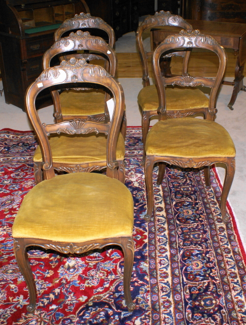 Set of 6 mint clean French carved Victorian dining room chairs or ...