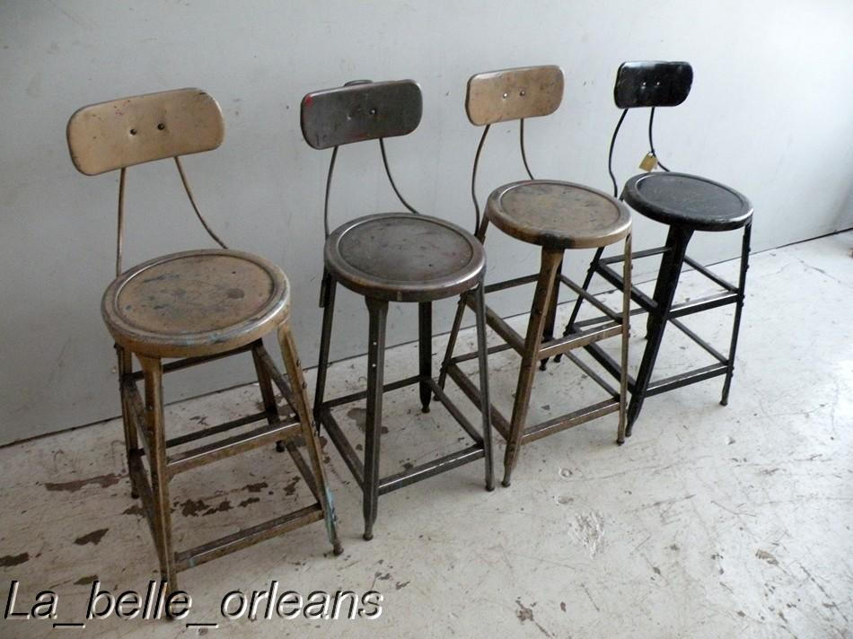 Set Of Four Metal Vintage Industrial Machinist Stools For