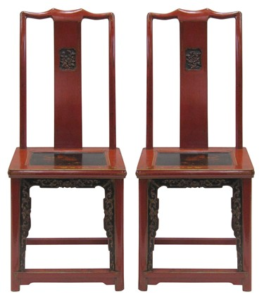 Chinese Wedding Chairs 19th Century Carved Chairs Red Lacquered Chairs For