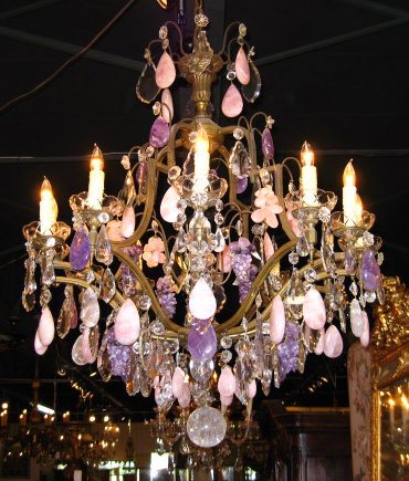 Rare Th Century French Bronze Rose Quartz And Amethyst Rock - Quartz chandelier crystals