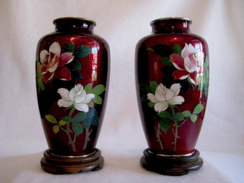 Pair Pigeon Blood Cloisonne Vases For Sale Antiques Classifieds