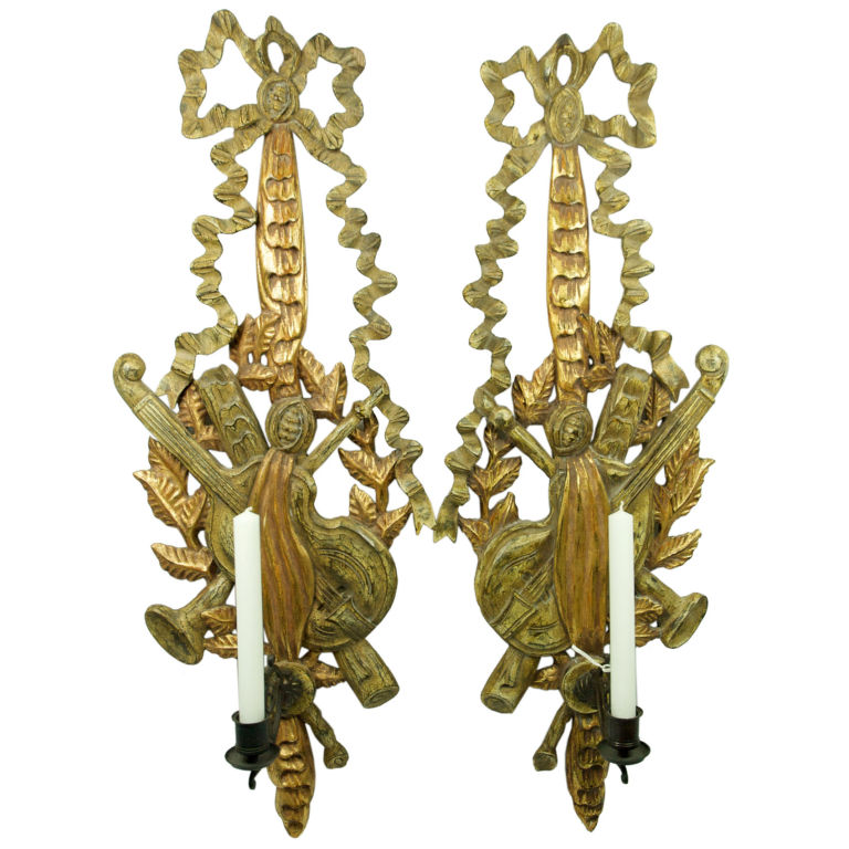 Antique Leaf Wall Sconces : Pair of 1930 wood gold leaf bow ribbon candle wall sconces For Sale Antiques.com Classifieds