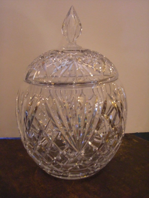 Diamond Cut Glass Punch Bowl with finial on lid For Sale ...