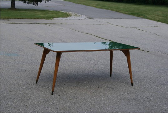 Italian Dinner Table or Desk Green Glass Top For Sale  Antiques