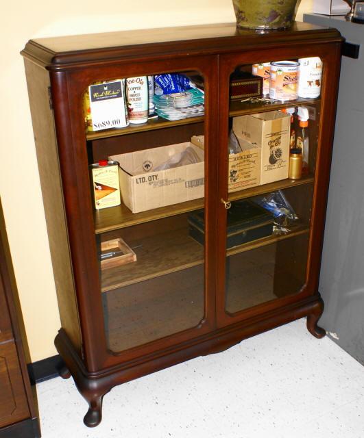 Walnut Queen Anne 2 Door Bookcase For