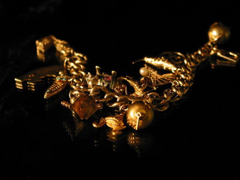 Vintage Gold Charm Bracelet For Sale Antiques Com