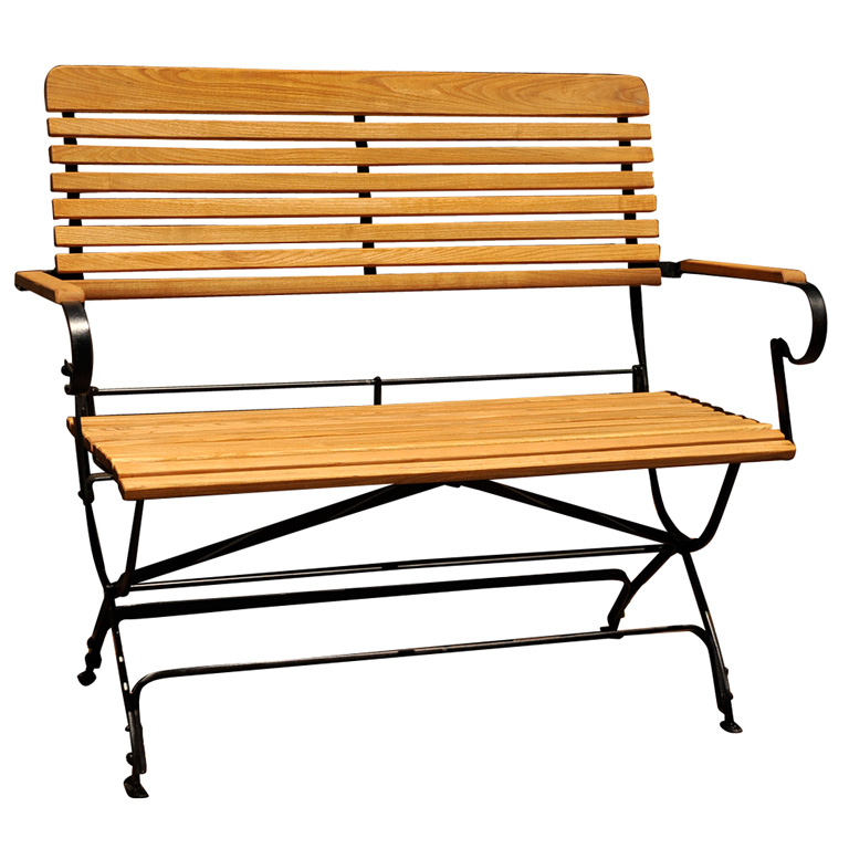 WOOD AND IRON FOLDING GARDEN BENCH   For Sale