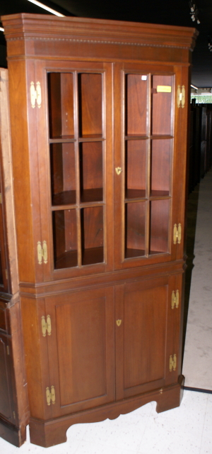 Another Choice Solid Mahogany Craftique Corner Cabinet With H Bracket  Colonial Style Solid Brass Hardware And Individual Pane Glass Doors Circa  1940s.