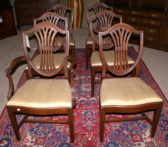 Antique Mahogany Dining Room Furniture: Set Of 6 Solid Mahogany Shield Back Dining Room Chairs For