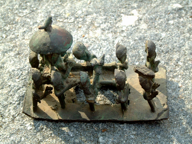 African Ashanti Brass Lost Wax Bronze Chief In A Palanquin