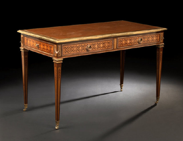 superb french inlaid writing desk for sale