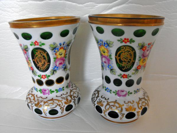 Pair Of Antique Bohemian Glass Vases With White Overlay Glass And