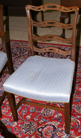 Set Of Four Solid Mahogany Ribbon Back Baker Dining Room Chairs