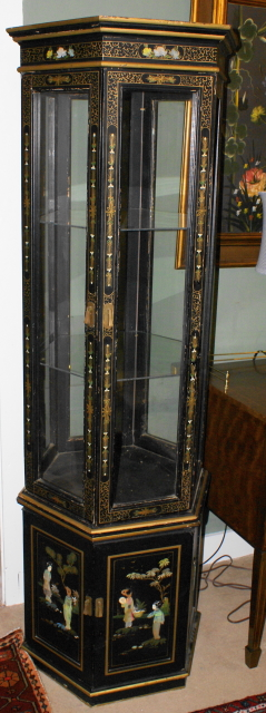 Very Nice Asian Black Enamel Hand Painted Curio Cabinet   For Sale