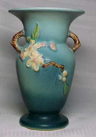 Roseville Pottery Apple Blossom Blue Double Handled Vase