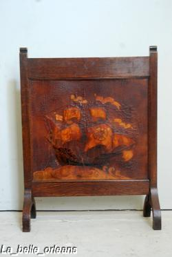 Rare English Fire Screen Tooled Leather Galleon Ship For Sale Classifieds