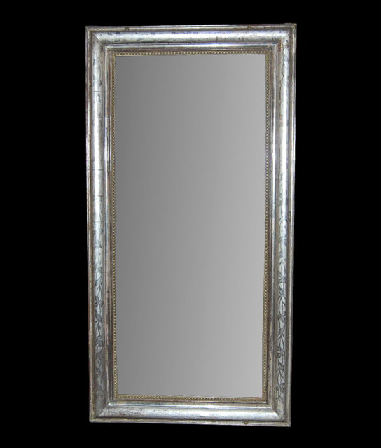 French silver leaf louis philippe mirror for sale for Silver framed mirrors on sale