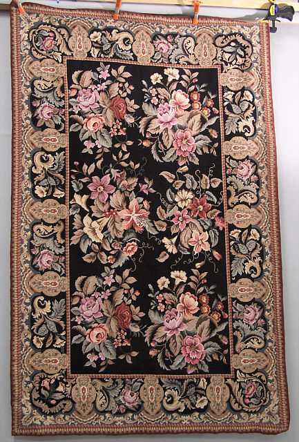 Small Black Floral Needlepoint Area Rug Item 5975 For