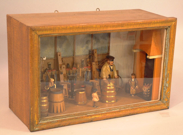 Antique Cooper Shop Diorama With People And Tools C1885