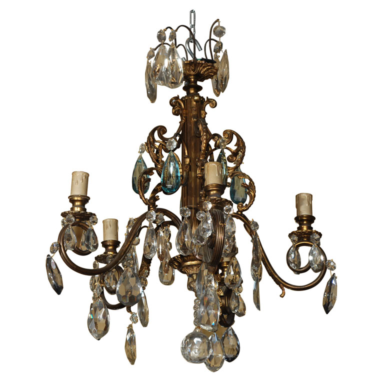 CUT GLASS AND BRONZE CHANDELIER For Sale