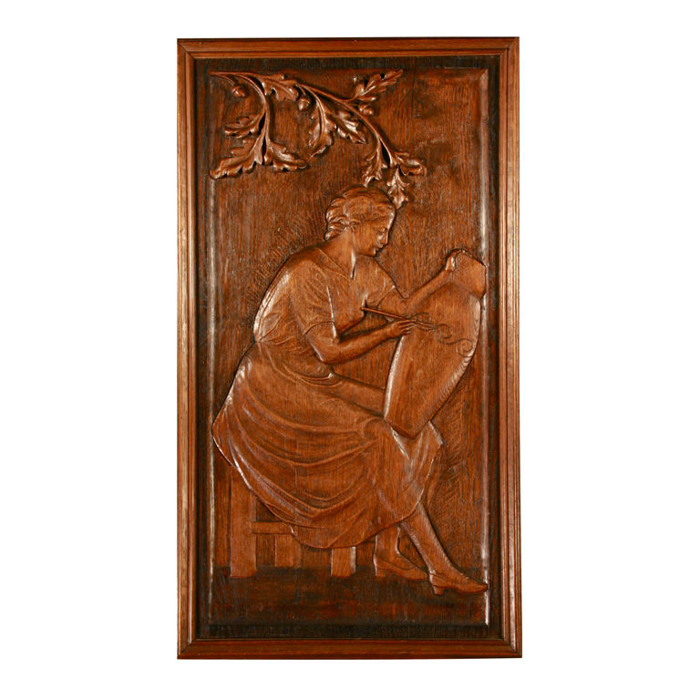 W breeveld carved wood wall plaque for sale antiques Reclaimed wood wall art for sale