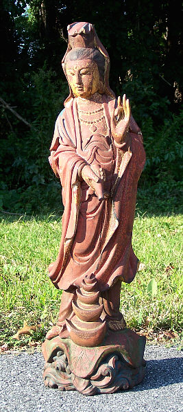Chinese Guanyin Goddess Carved Wood Statue 19th Century