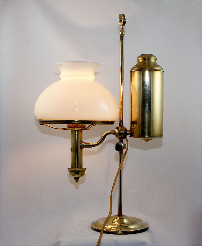 student lamp with original white shade for sale. Black Bedroom Furniture Sets. Home Design Ideas
