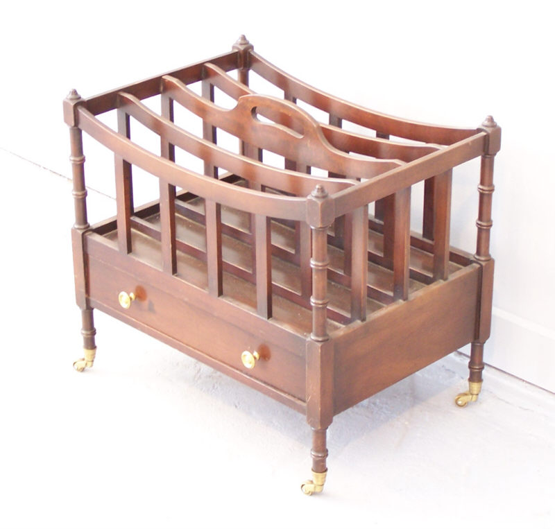 English Mahogany Vintage Canterbury Or Magazine Rack With Full Facia  Drawer, 4 Divided Compartments, Separated By Squared Slats, On Turned Legs,  ...