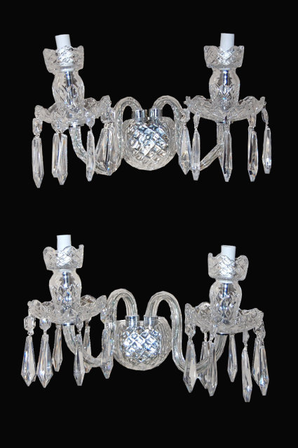 Pair of Waterford Style Crystal Wall Sconce For Sale Antiques.com Classifieds