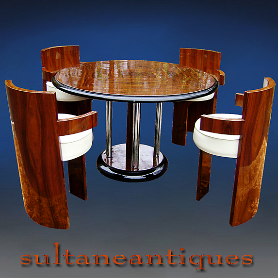 absolutely unique this set is made with bookmatched rosewood chairs and table with curveous forms in the art deco tradition and style art deco style rosewood