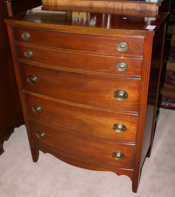 Cute Pee Mahogany Bow Front Chest Of Drawers For