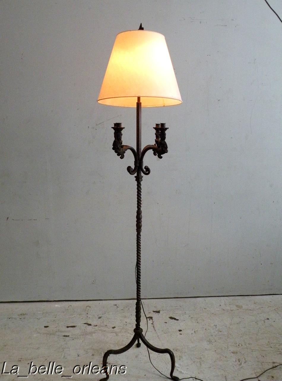 RARE WROUGHT IRON FIGURAL FLOOR LAMP. ELECTRIC/CANDLE For ...