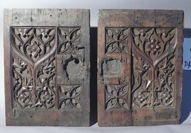 Beau Pair 17th Century Italian Carved Oak Cabinet Doors : Item # 6539   For Sale