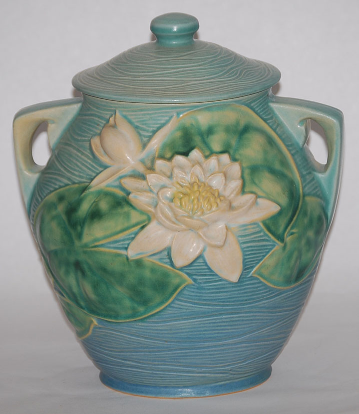 Roseville Pottery Water Lily Blue Cookie Jar For Sale