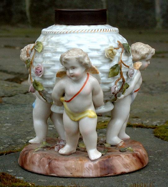 Antique Porcelain Cherub Lamp Base Item 3398 For Sale