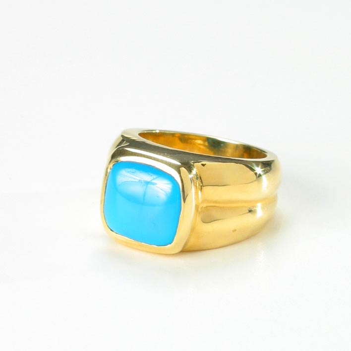 Square Shaped Turquoise Ring FJ 6943 For Sale
