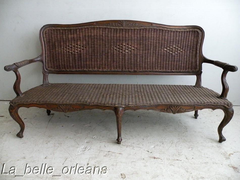 OUTSTANDING 19THc. FRENCH COLONIAL RATTAN SOFA. L@@k!! For