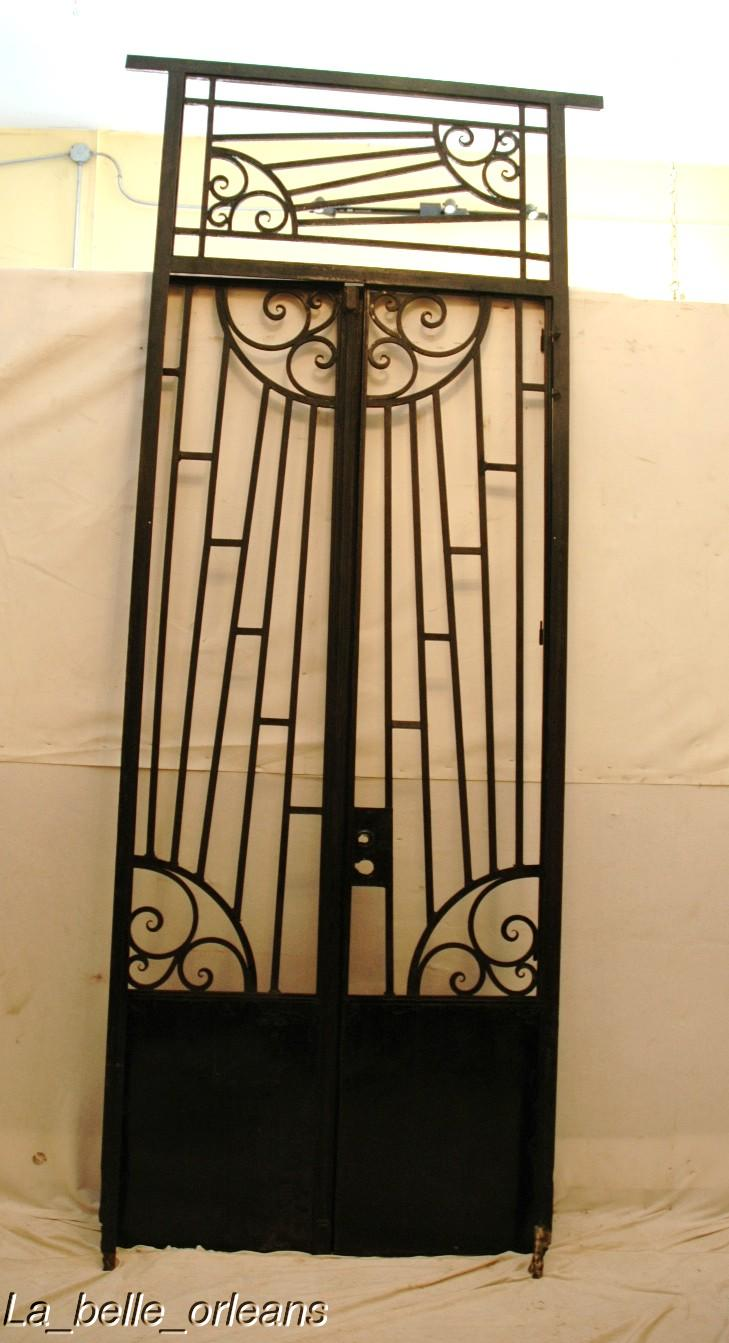 Art deco french wrought iron gate with frame transom for for Decorative entrance doors