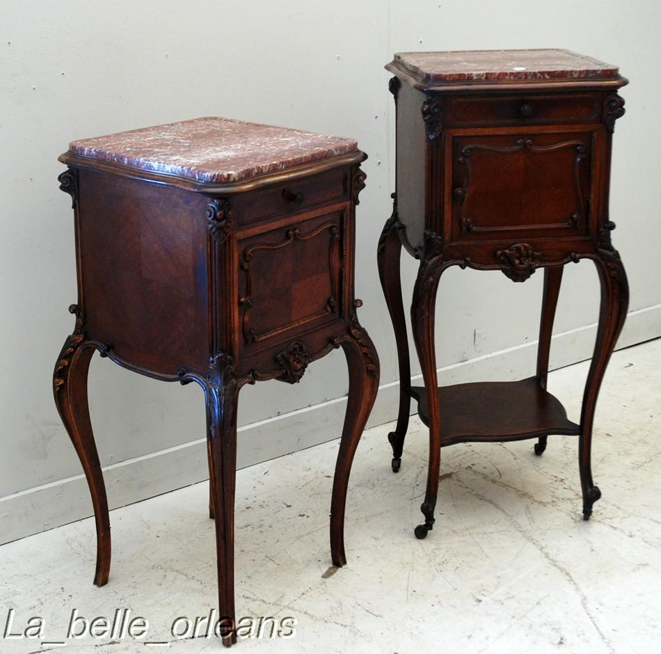 Charmant A Superb Pair Of French Side/end Tables In The Louis XV Style . Made All In  Solid Walnut And Rosewood Veneer With Fitted Beveled Marble Tops ...