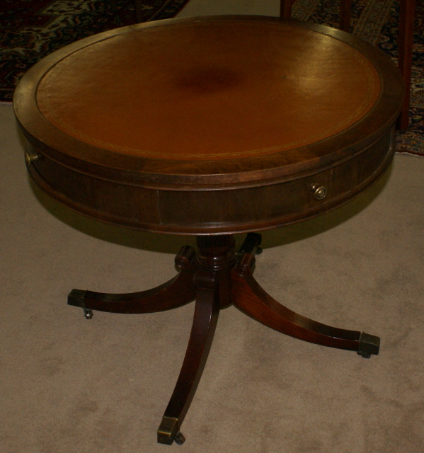 Duncan Phyfe Round Table With Drawer.Nice Round Hand Tooled Leather Top Duncan Phyfe Living Room Table