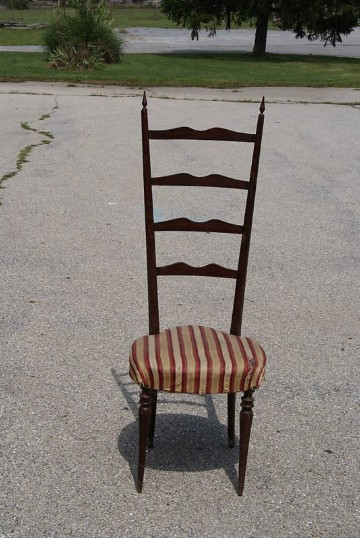 Merveilleux Single Tall 1950u0027s Italian Ladder Back Dining Chairs   For Sale
