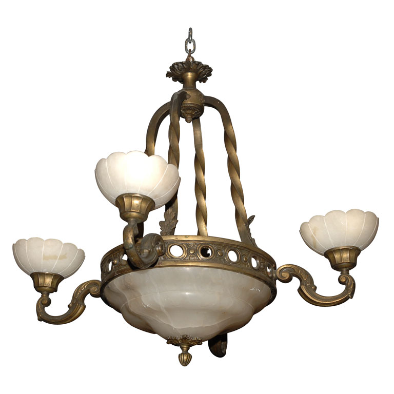 ITALIAN ALABASTER CHANDELIER For Sale