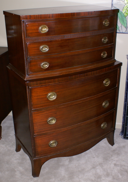 Nice Dark Mahogany Bow Front Chest On For