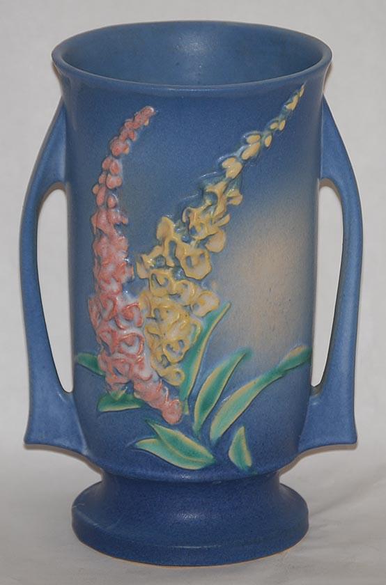 Roseville Pottery Foxglove Blue Vase For Sale Antiques