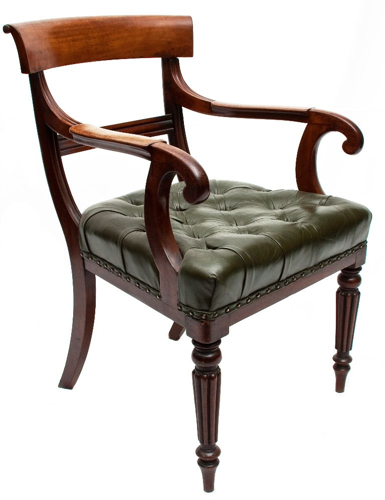 Superb English Regency Sheraton Attributed Gillows Mahogany Arm Chair With  A Green Leather Seat. Ci   For Sale